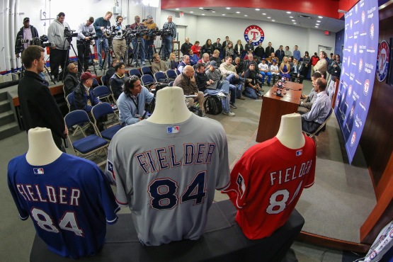 The Rangers new uniforms are on display at Prince Fielder's press conference