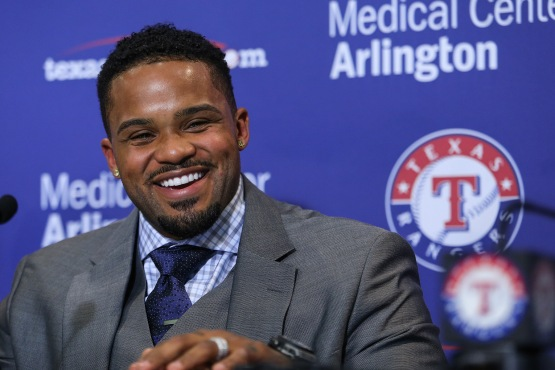 Prince Fielder, with his new haircut, at a Monday press conference at the Ballpark in Arlington