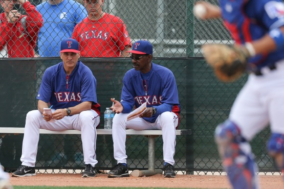 Ron Washington and bench coach Tim Bogar